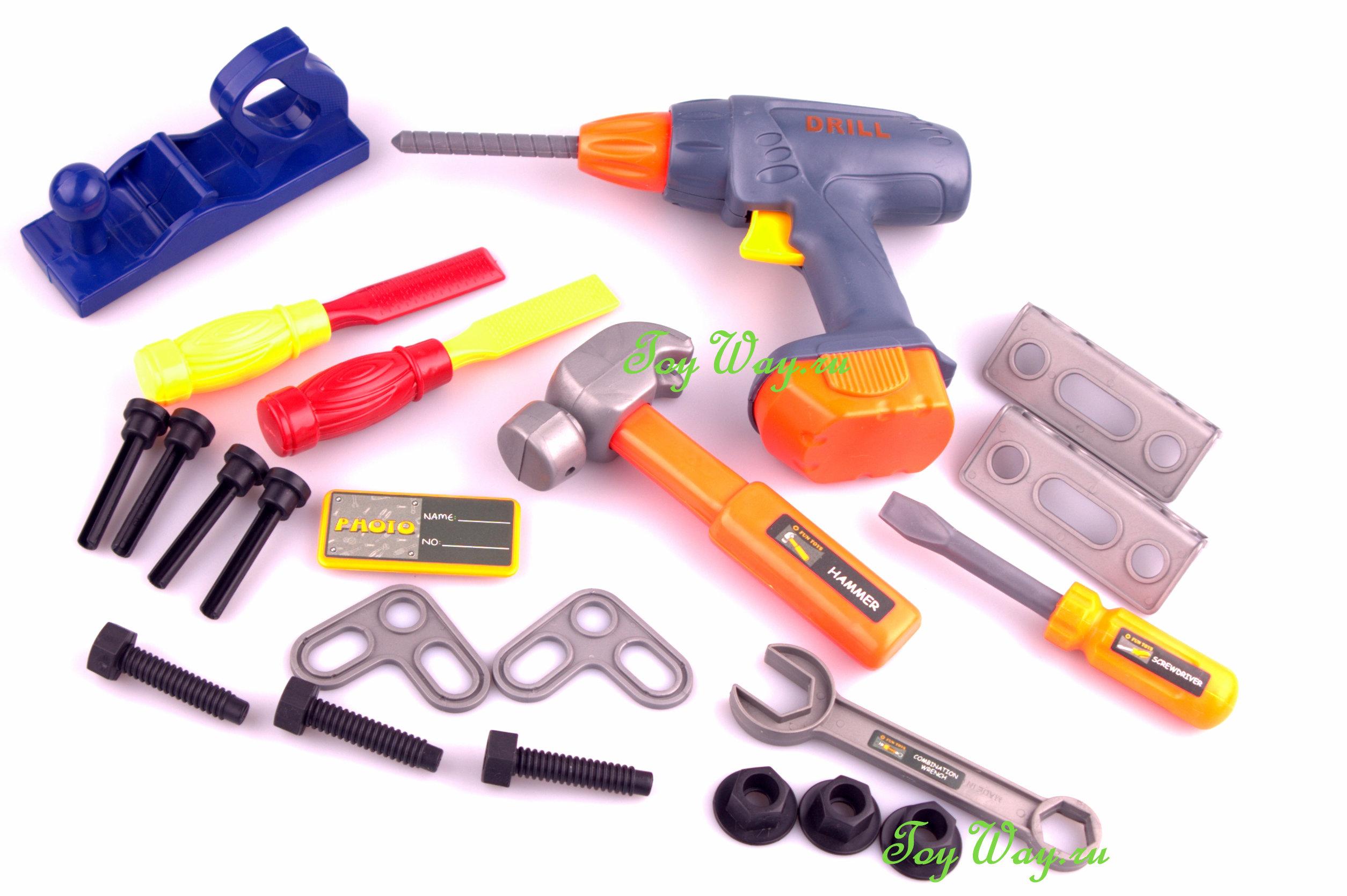 Игрушечный набор инструментов в чемодане, 22 предметаДетские мастерские, инструменты<br>Игрушечный набор инструментов в чемодане, 22 предмета<br>