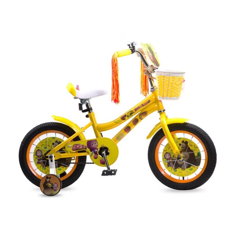 Купить Детский велосипед Navigator из серии Маша и Медведь, колеса 14 , стальная рама, стальные обода, ножной тормоз