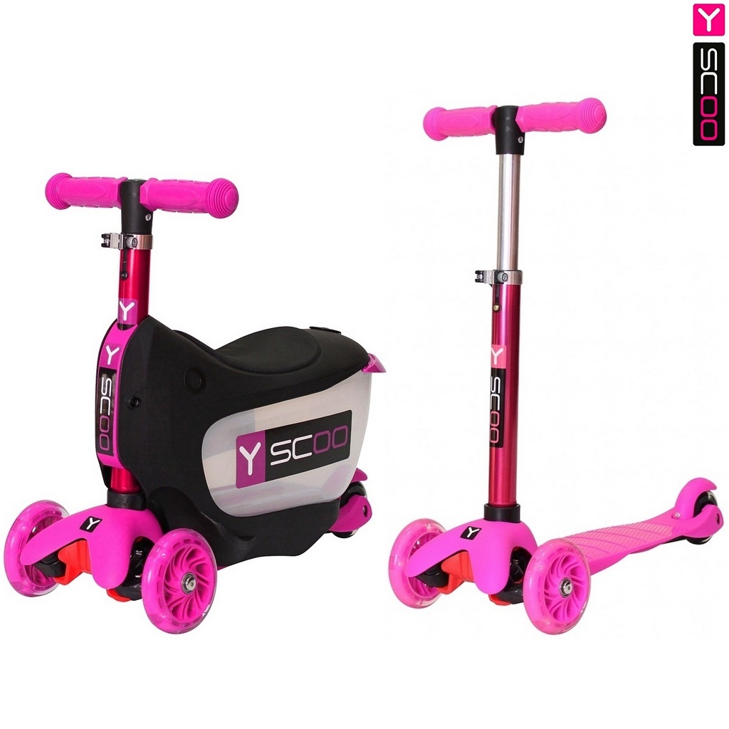 Каталка-самокат 3 в 1 Y-Scoo Mini Jump&amp;Go, розовый, со светящимися колесамиТрехколесные самокаты<br>Каталка-самокат 3 в 1 Y-Scoo Mini Jump&amp;Go, розовый, со светящимися колесами<br>