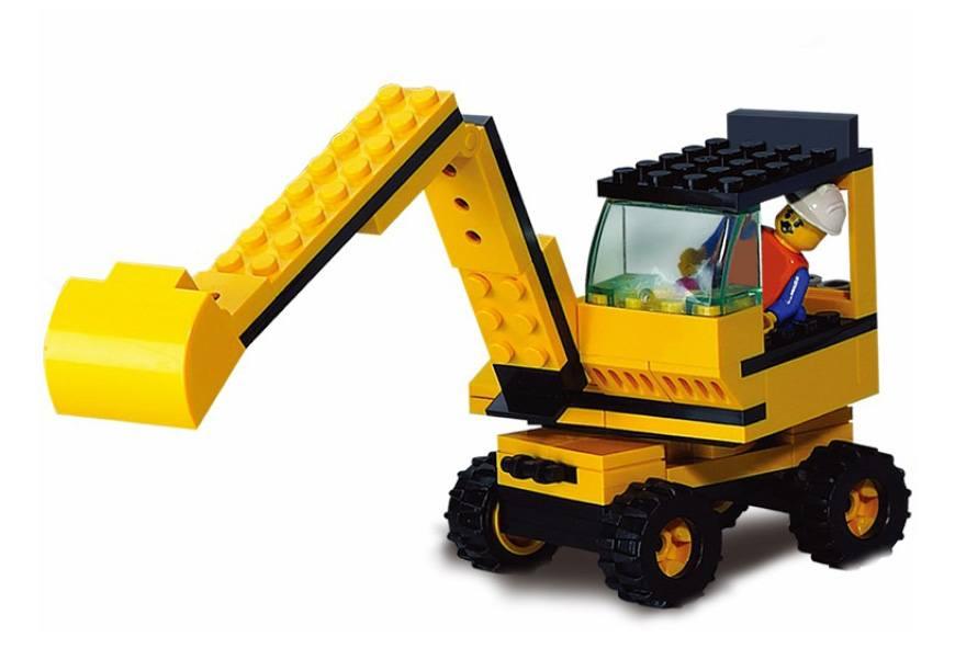 Конструктор - Строительная техника: экскаватор с фигурками и аксессуарами 106 деталей.