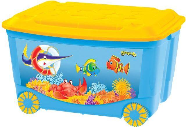 Ящик для игрушек на колесах, с аппликацией, голубойКорзины для игрушек<br>Ящик для игрушек на колесах, с аппликацией, голубой<br>
