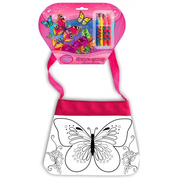 Купить Сумочка для росписи – Цветы & Бабочки, с фломастерами и стразами, Multiart