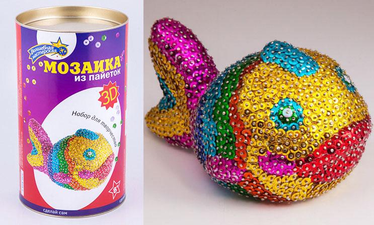 Мозаика из пайеток 3D РыбкаАппликация, пайетки<br>Мозаика из пайеток 3D Рыбка<br>