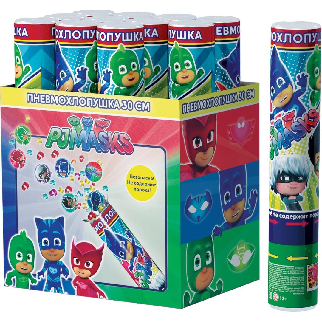 Хлопушка - PJ Masks, конфетти с героями, 30 смХлопушки<br>Хлопушка - PJ Masks, конфетти с героями, 30 см<br>
