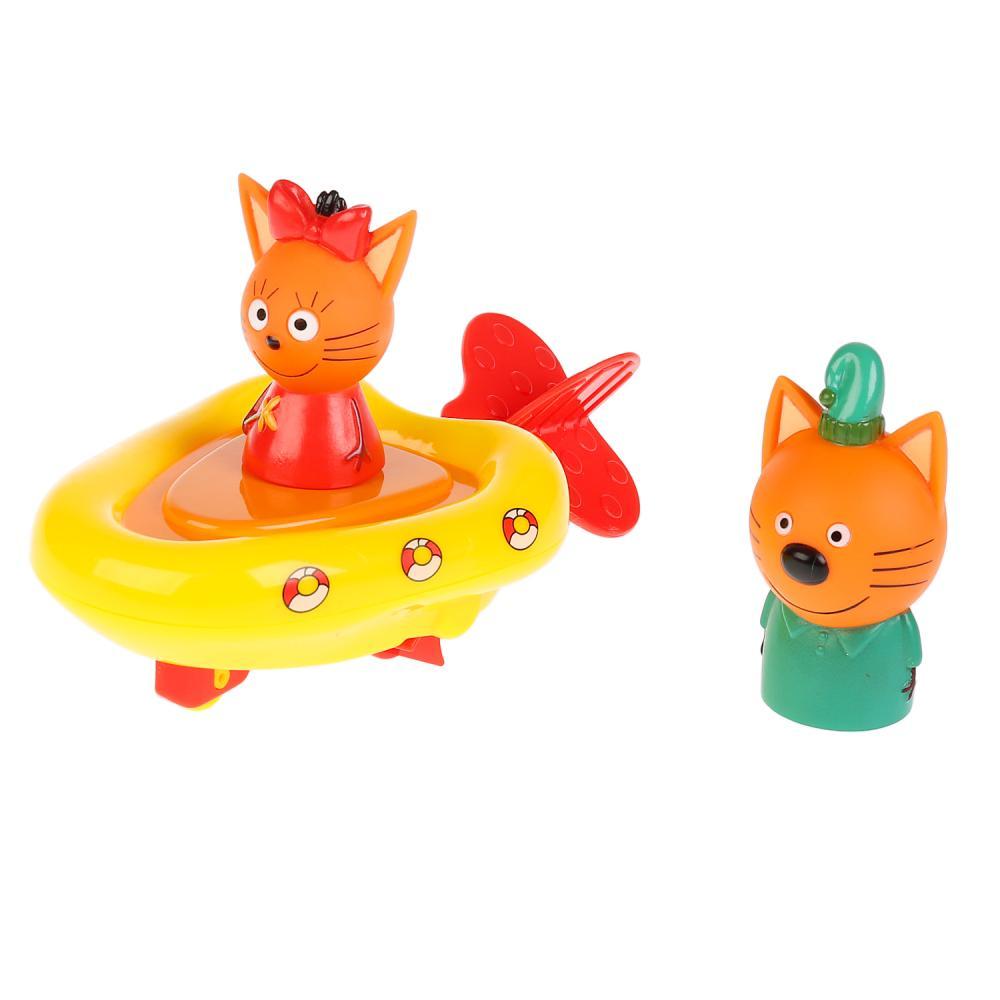 Купить Игрушка пластизоль для ванны Три кота – Лодка, Компот, 7 см и Карамелька, 5 см, Капитошка
