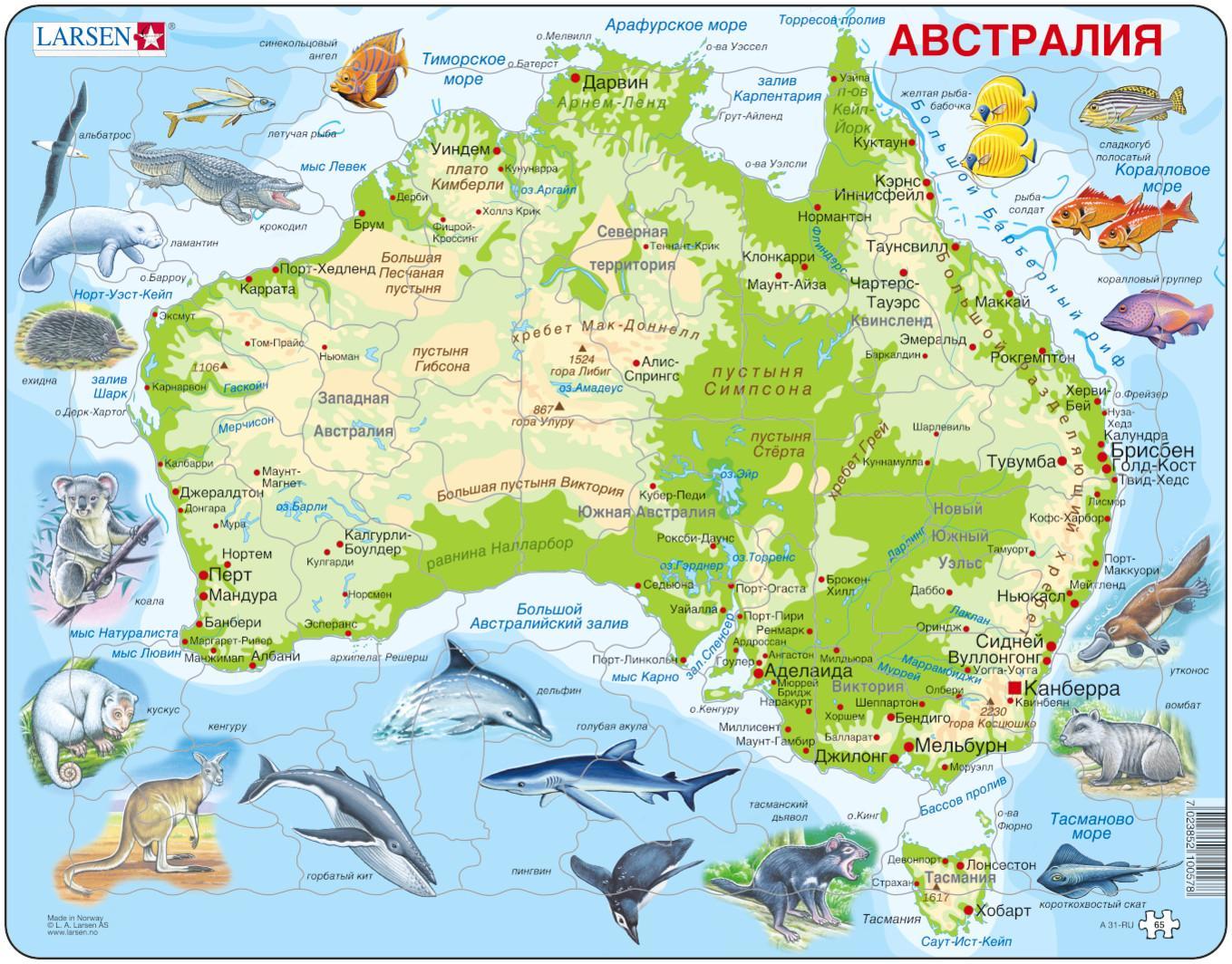 Пазл-головоломка - Карта Австралии с животными, 65 элементов