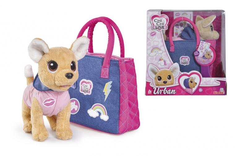 Плюшевая собачка из серии Chi-Chi love - Городская мода, с сумочкой и стикерами, 20 см. фото