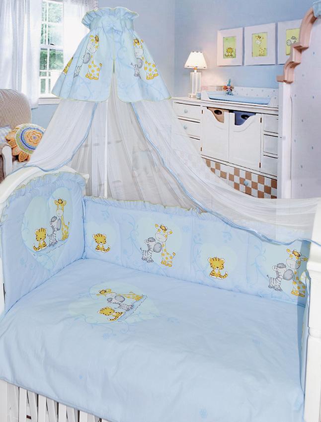 Комплект в кроватку 7 предметов – Сафари, голубойДетское постельное белье<br>Комплект в кроватку 7 предметов – Сафари, голубой<br>