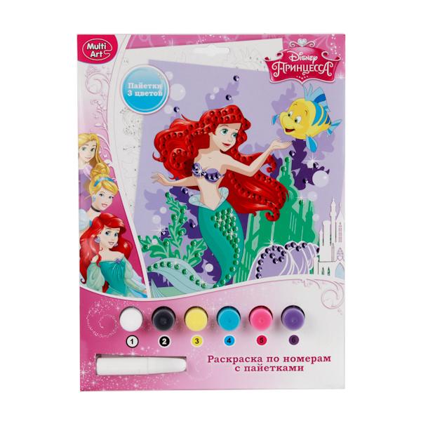Набор для творчества Принцессы Disney - Раскраска по номерам с пайеткамиРаскраски по номерам Schipper<br>Набор для творчества Принцессы Disney - Раскраска по номерам с пайетками<br>