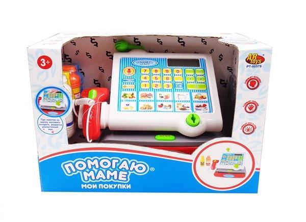 Касса  Помогаю маме, с набором продуктов, свет и звук - Детская игрушка Касса. Магазин. Супермаркет, артикул: 173071
