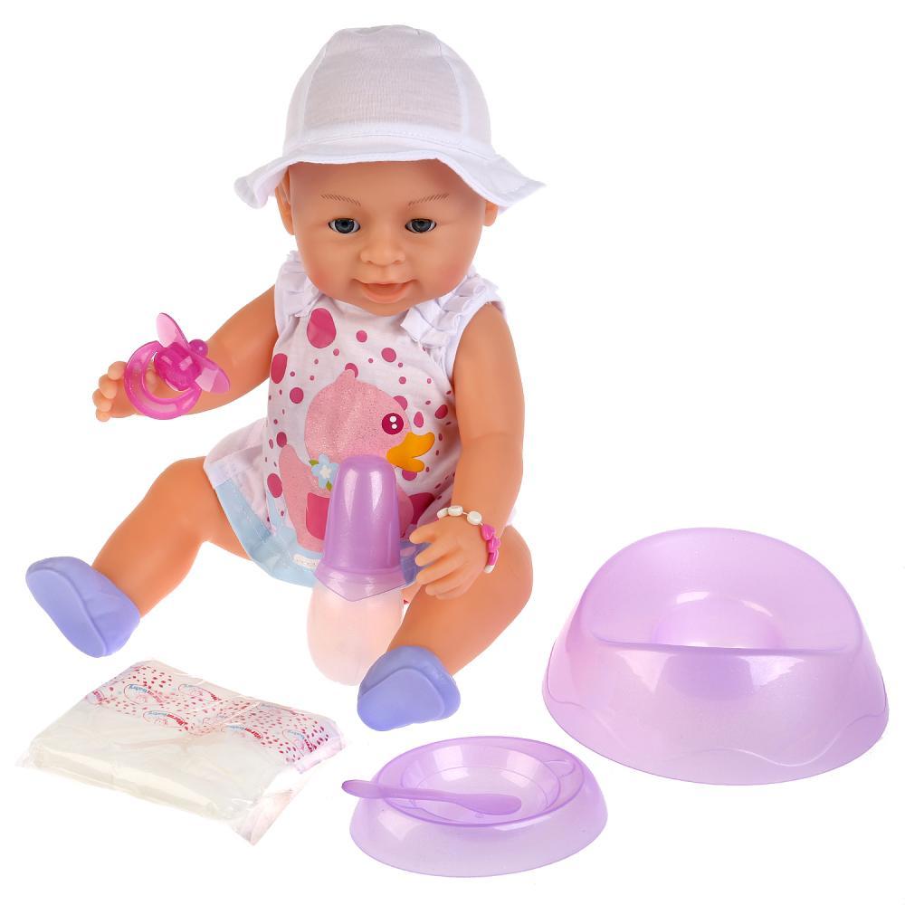 Интерактивная кукла, пьет и писает, закрывает глазки, с аксессуарами, 43 см по цене 2 607
