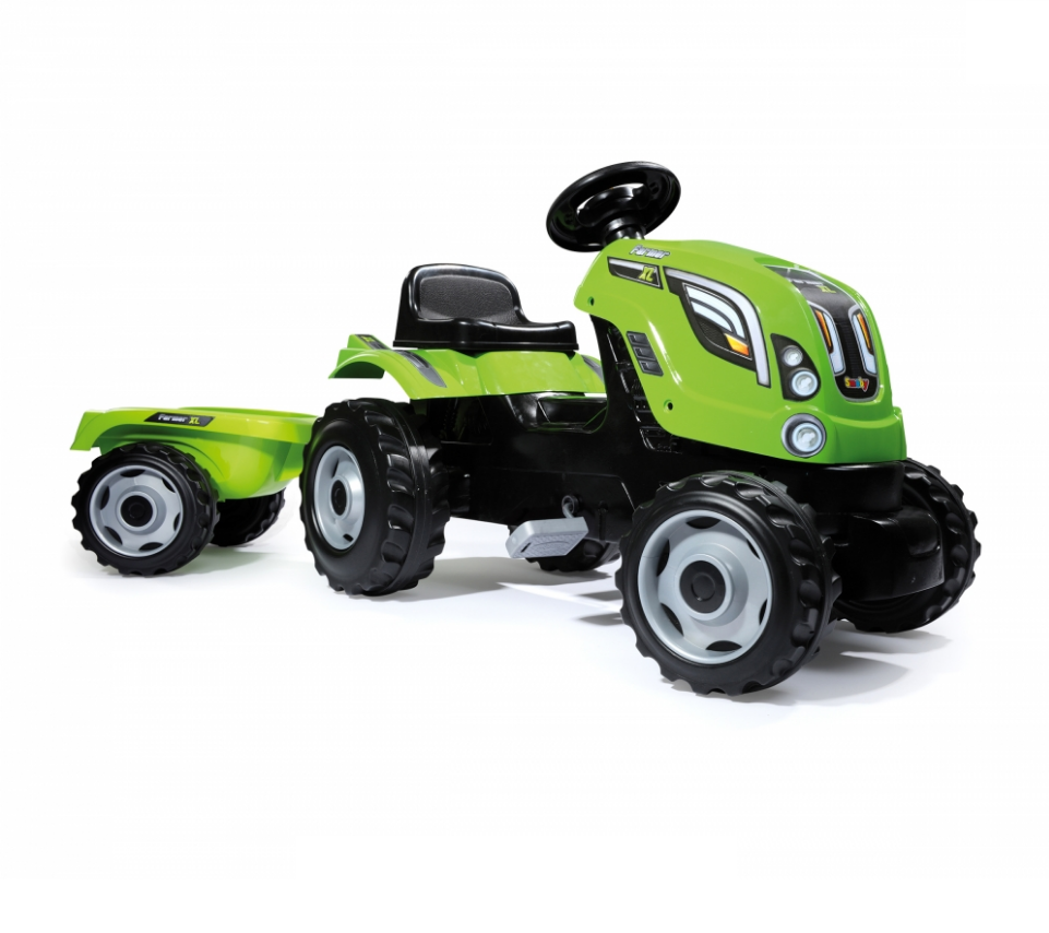 Трактор педальный XL с прицепом, зеленыйПедальные машины и трактора<br>Трактор педальный XL с прицепом, зеленый<br>