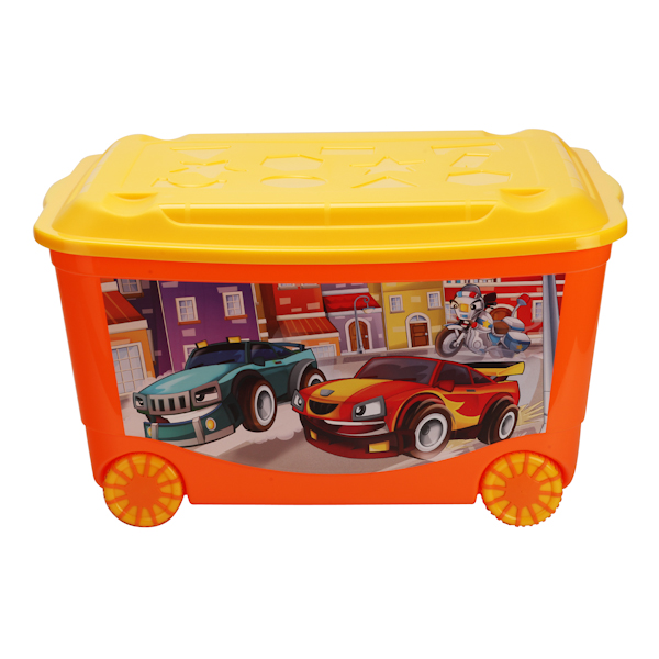 Ящик для игрушек на колесах, с аппликацией, оранжевыйКорзины для игрушек<br>Ящик для игрушек на колесах, с аппликацией, оранжевый<br>