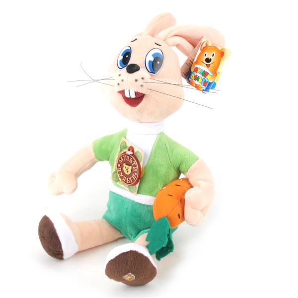 Мягкая игрушка – Заяц с морковкой из мультфильма Ну, погоди!, озвученная, 25 см., Мульти-Пульти  - купить со скидкой