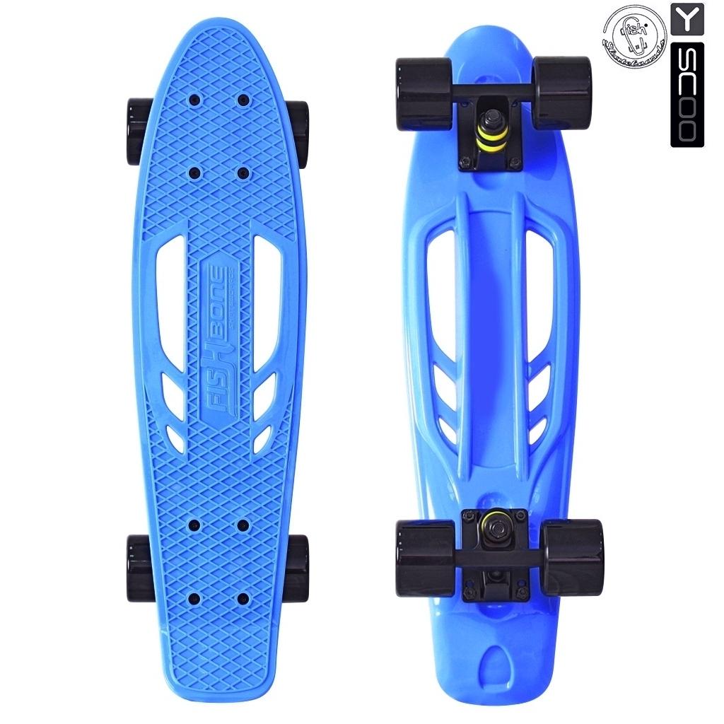 Скейтборд виниловый Y-Scoo Skateboard Fishbone 405-B с ручкой и сумкой, синийДетские скейтборды<br>Скейтборд виниловый Y-Scoo Skateboard Fishbone 405-B с ручкой и сумкой, синий<br>