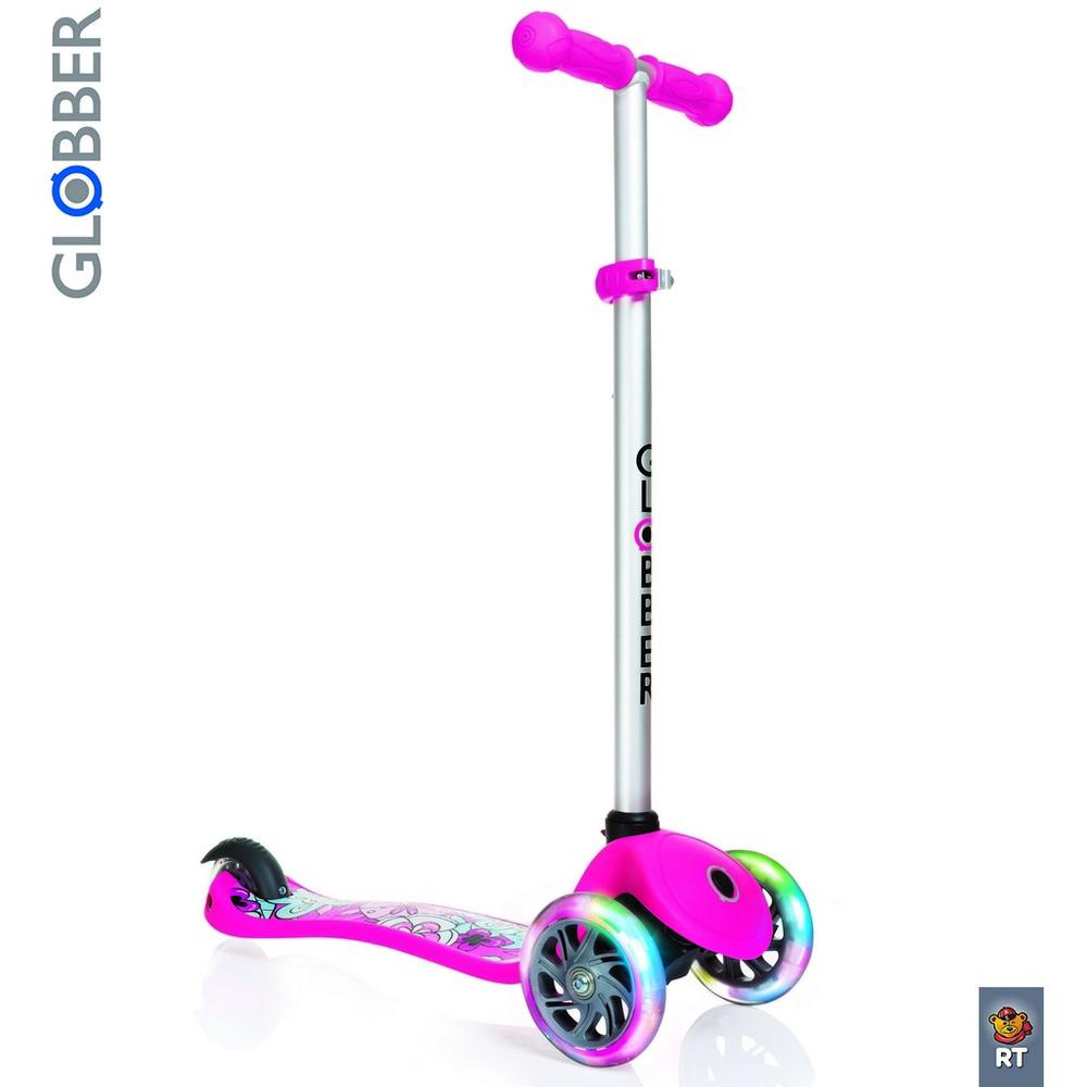 Самокат Y-SCOO Globber Primo Fantasy с 3 светящимися колесами Flowers Neon pinkТрехколесные самокаты<br>Самокат Y-SCOO Globber Primo Fantasy с 3 светящимися колесами Flowers Neon pink<br>