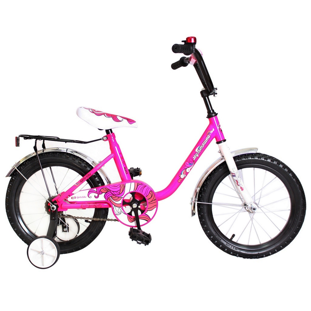 RT Двухколесный велосипед Мультяшка, диаметр колес 14 дюймов, розовый