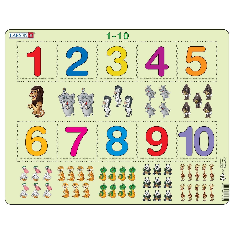 Купить Пазл с цифрами 1-10, 10 деталей, Larsen