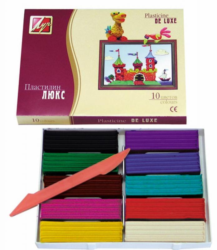 Пластилин Люкс, 10 цветов, со стекомНаборы для лепки<br>Пластилин Люкс, 10 цветов, со стеком<br>