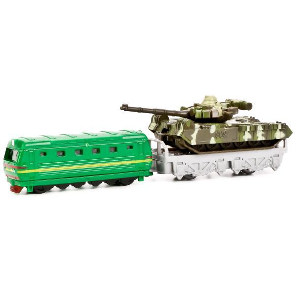 Игровой набор военной техники - Локомотив и танк Т-90 на платформеВоенная техника<br>Игровой набор военной техники - Локомотив и танк Т-90 на платформе<br>