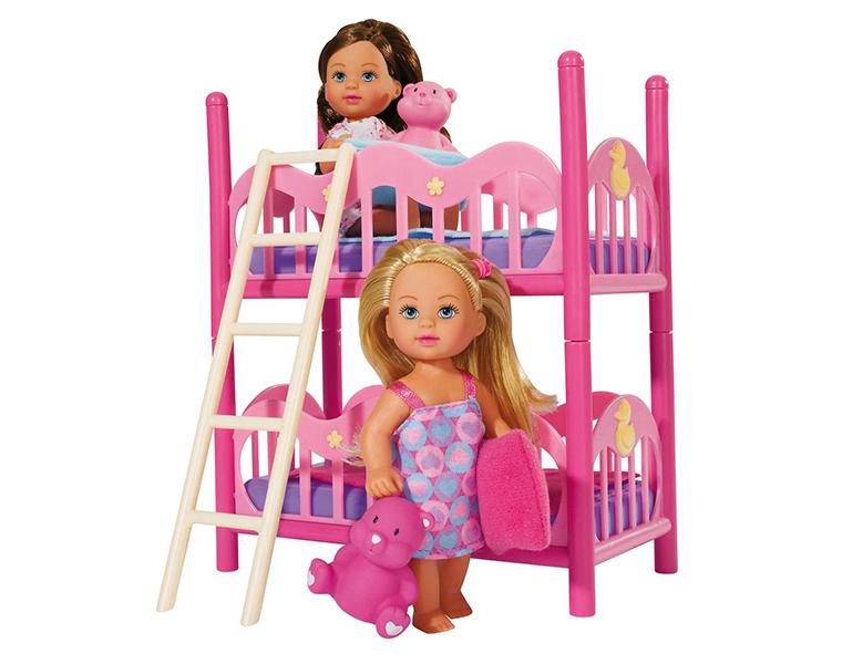 Кукла Еви - Подружки, 2 куклы с кроваткой, 12 см