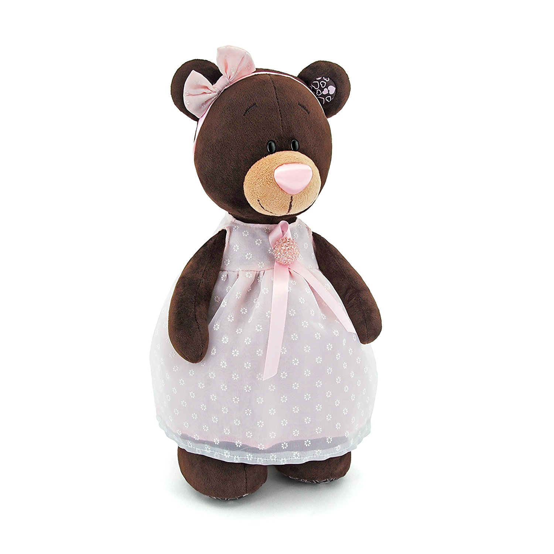 Купить Медведь девочка Milk стоячая в платье с брошью, 30 см., Orange
