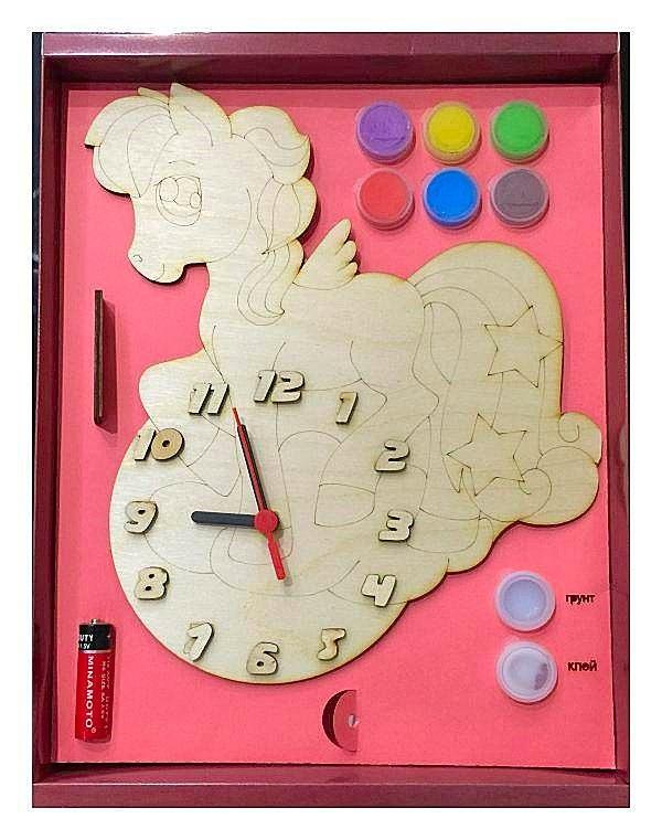 Часы с циферблатом под роспись – Пони, с краскамиЛаковая миниатюра и роспись по дереву<br>Часы с циферблатом под роспись – Пони, с красками<br>