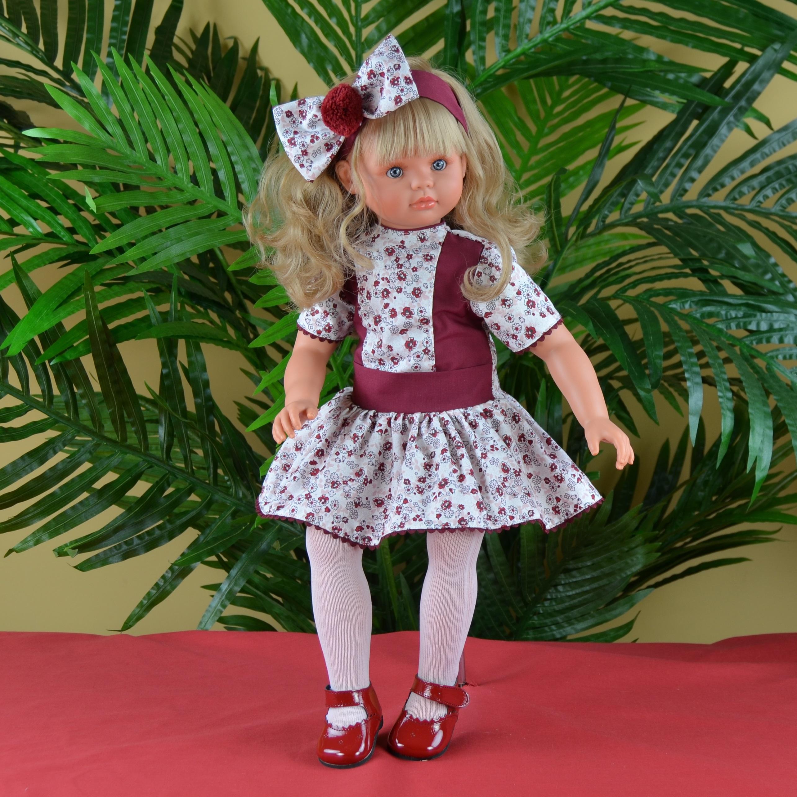 Кукла Пепа в бордовом платье, 60 см.Куклы ASI (Испания)<br>Кукла Пепа в бордовом платье, 60 см.<br>