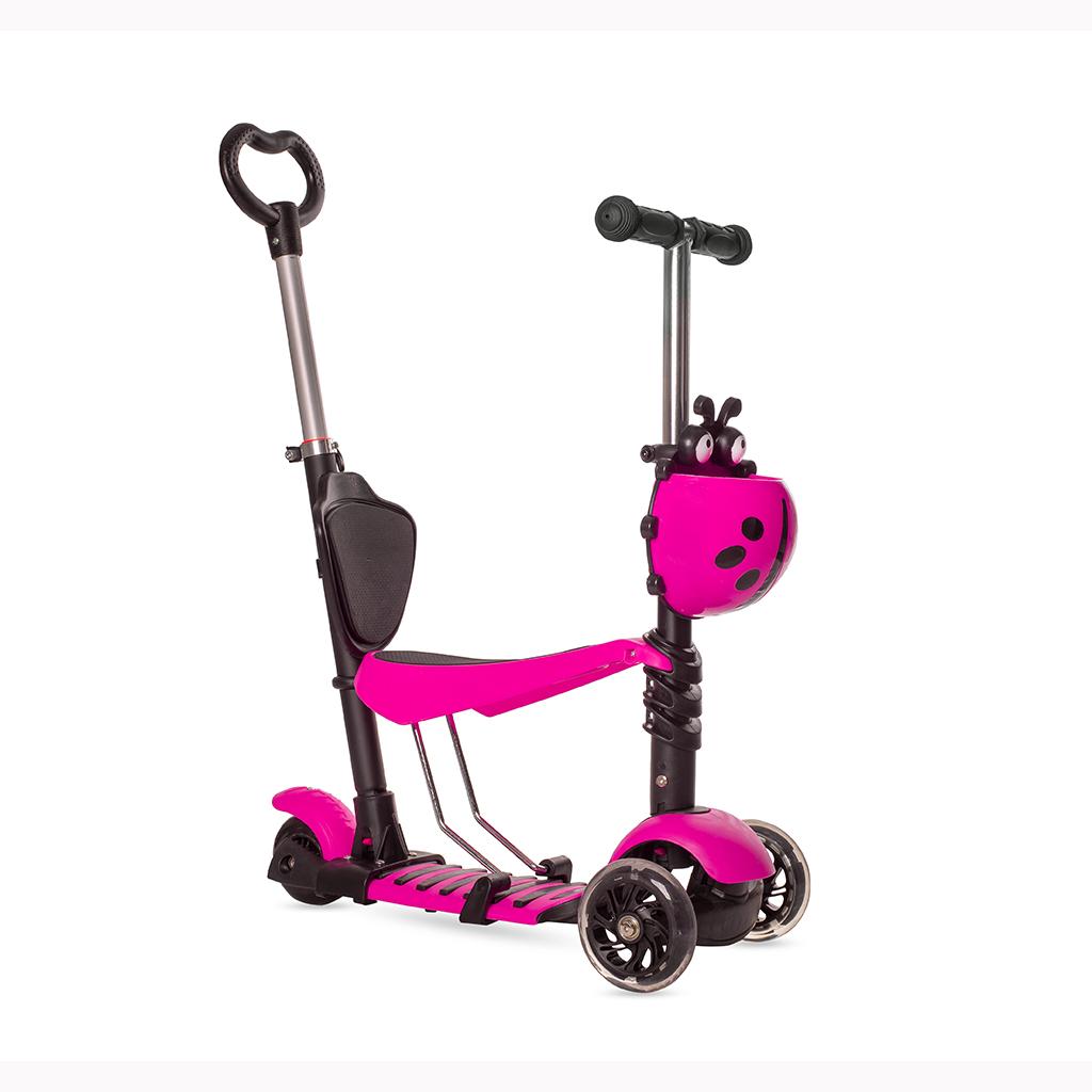 Купить Самокат-беговел Black Aqua MG023D с ручкой и светящимися колёсами, цвет розовый