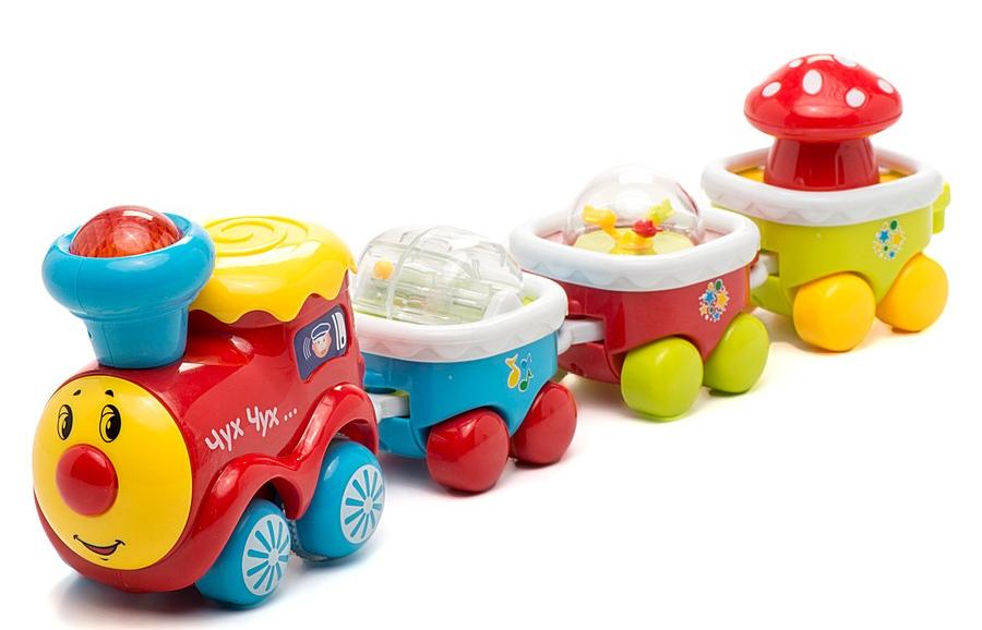 Развивающая игрушка Музыкальный паровозикЖелезная дорога для малышей<br>Развивающая игрушка Музыкальный паровозик<br>