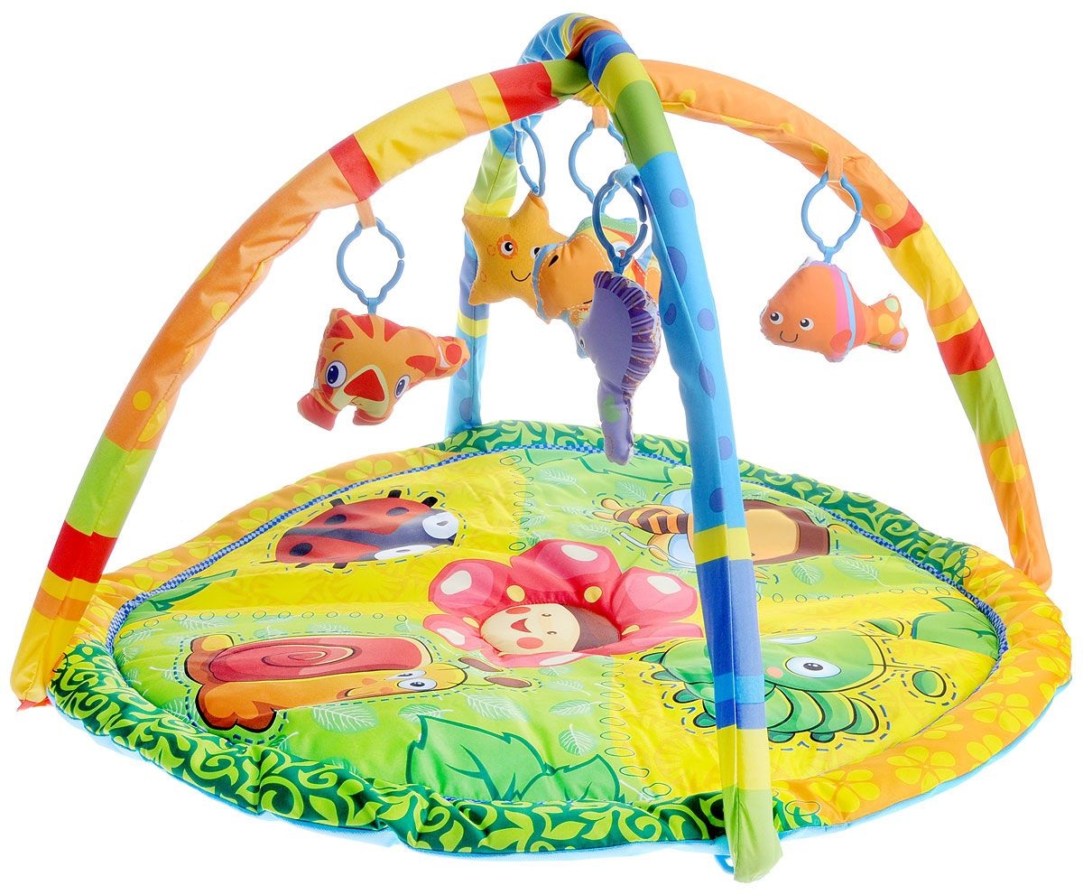 Детский игровой коврик с мягкими игрушками-пищалками на подвеске и дугамиДетские развивающие коврики для новорожденных<br>Детский игровой коврик с мягкими игрушками-пищалками на подвеске и дугами<br>