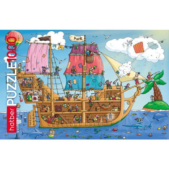 Купить Пазл Пиратский корабль 1000 элементов размер 68 х 45 см, Hatber