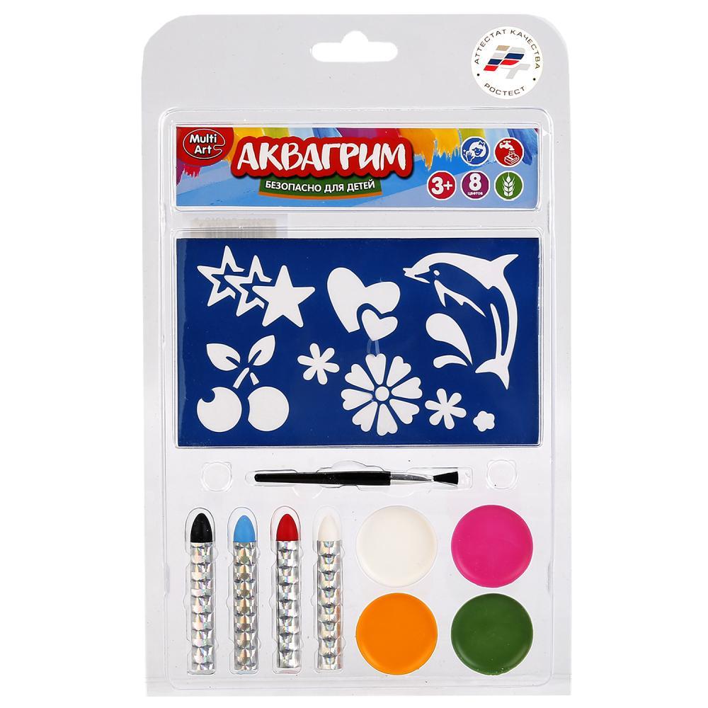 Купить со скидкой Аквагрим 4 цветные краски на масляной основе, кисточка, 4 карандаша и трафареты