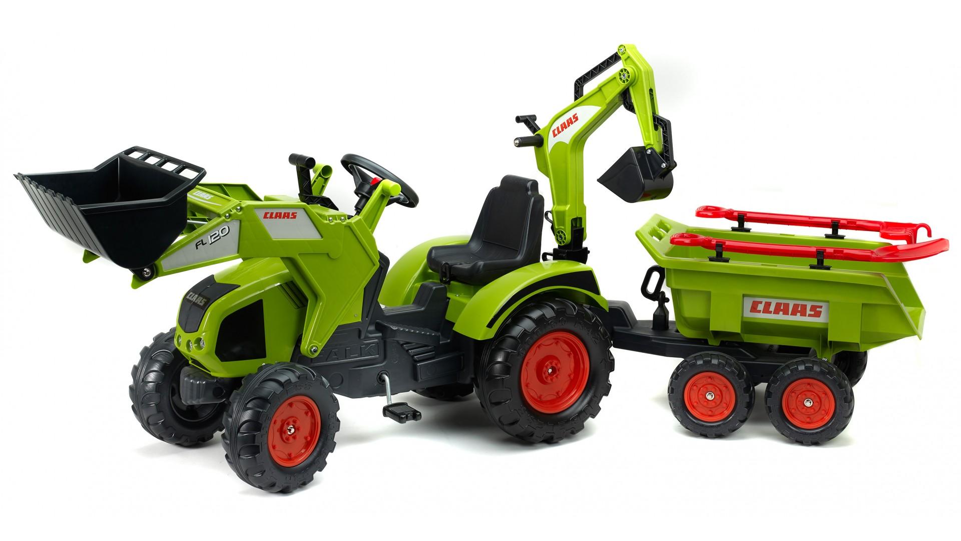Педальный трактор-экскаватор с прицепом, черно-салатовый, 230 смПедальные машины и трактора<br>Педальный трактор-экскаватор с прицепом, черно-салатовый, 230 см<br>