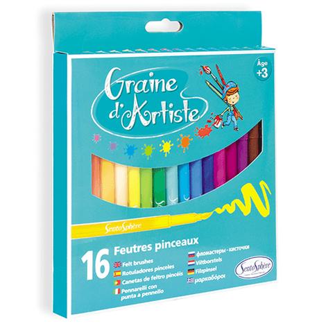 Купить Набор для творчества – фломастеры с кисточкой, 16 цветов, SentoSpherE