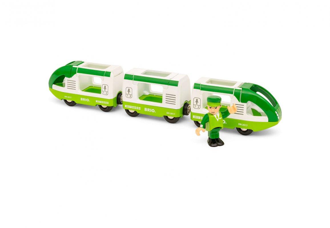 Купить Игровой набор – Зеленый поезд с 3 вагонами и машинистом, Brio