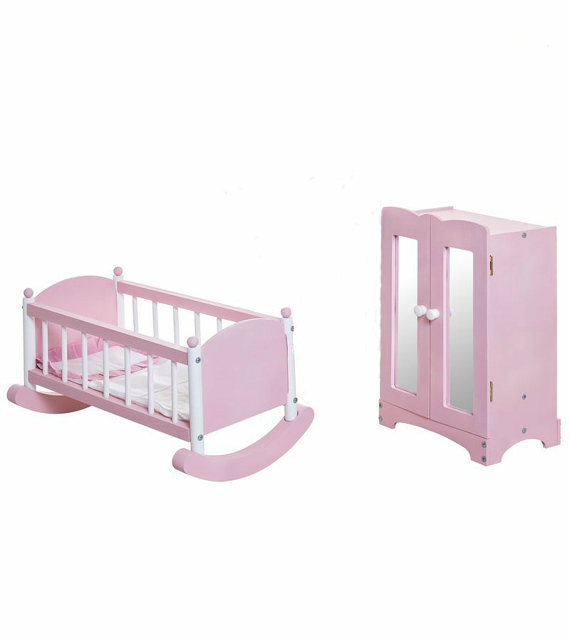 Набор кукольной мебели: шкаф и люлька, розовыеКукольные домики<br>Набор кукольной мебели: шкаф и люлька, розовые<br>