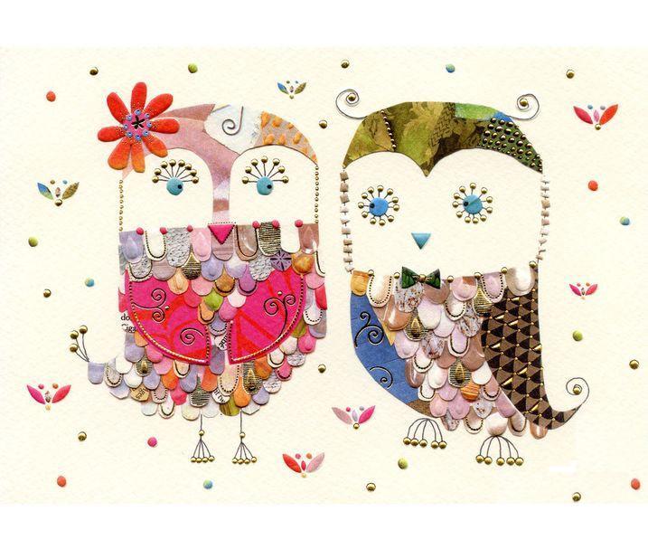 Мини-открытка Две совы, с конвертом
