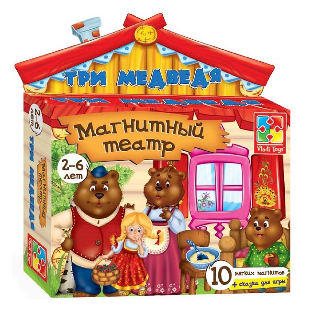 Магнитный театр - Три медведя, 10 элементовДетский кукольный театр <br>Магнитный театр - Три медведя, 10 элементов<br>