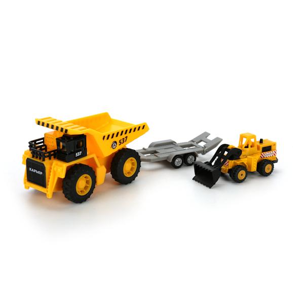 Набор строительной техники - Карьерный самосвал и бульдозер на тележкеБетономешалки, строительная техника<br>Набор строительной техники - Карьерный самосвал и бульдозер на тележке<br>