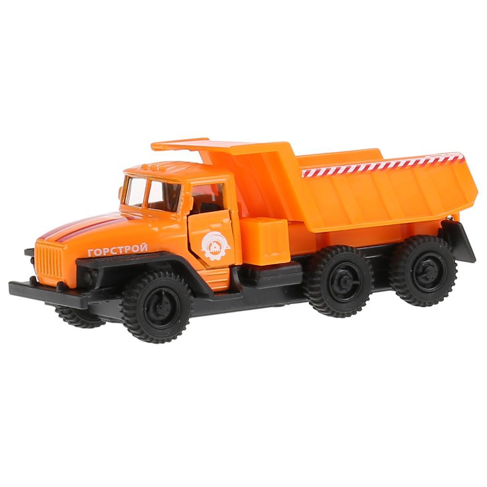 Самосвал Урал, оранжевая кабина, 12 см, металлический инерционный, Технопарк  - купить со скидкой