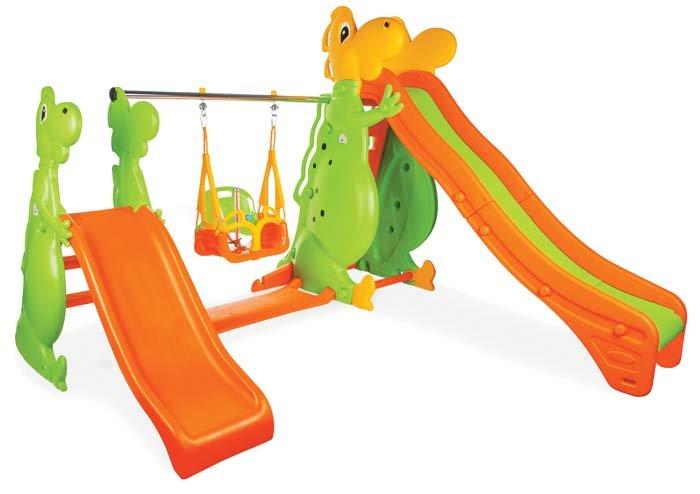 Игровой комплекс – Дино, двухсклонная горка и качели от Toyway