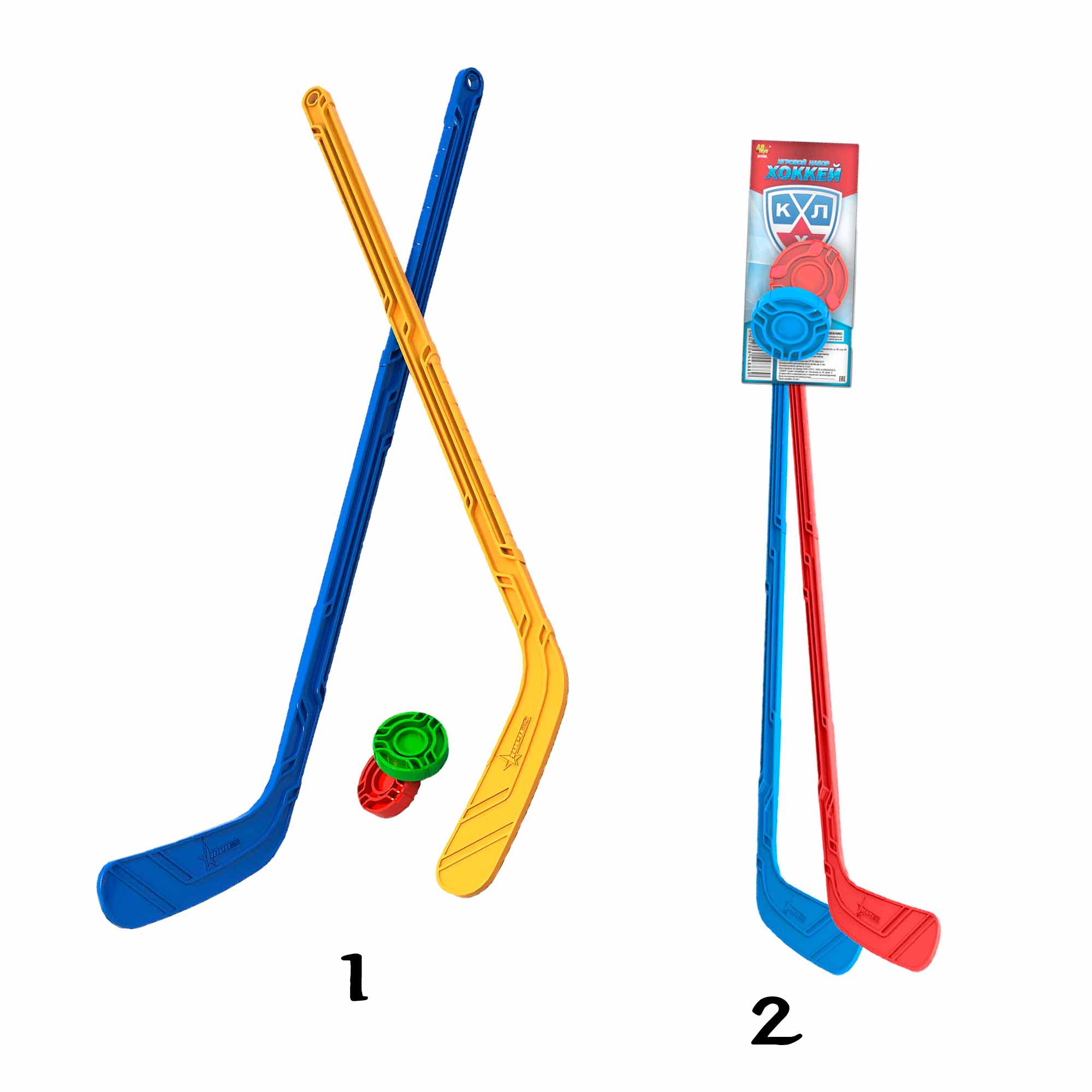 Набор - Юный хоккеист, 2 клюшки, 2 шайбы, Нордпласт  - купить со скидкой