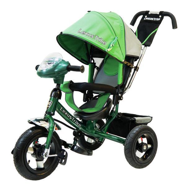 Велосипед 3-колесный, цвет – зеленый, с резиновыми надувными колесами 12 и 10 дюймов, регулируемая спинка, задний тормоз, светомузыкальная панельВелосипеды детские<br>Велосипед 3-колесный, цвет – зеленый, с резиновыми надувными колесами 12 и 10 дюймов, регулируемая спинка, задний тормоз, светомузыкальная панель<br>
