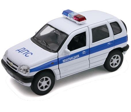 Коллекционный игрушечный автомобиль модели Chevrolet Niva Милиция ДПС, масштаб 1:34-39Нива<br>.<br>