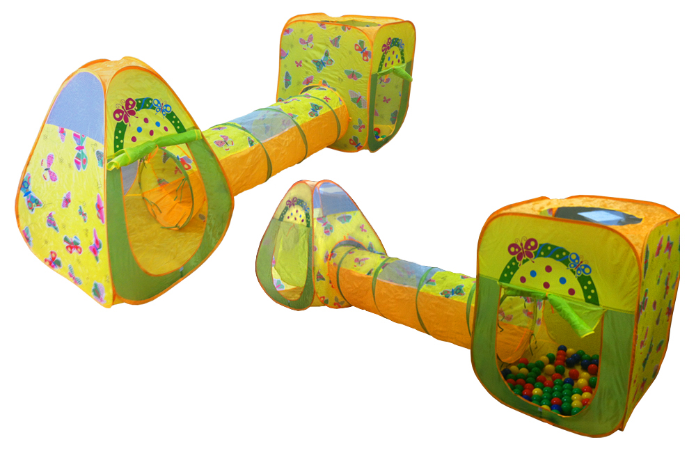 Набор из 2 игровых домиков с туннелем и 100 шариками, цветной фото