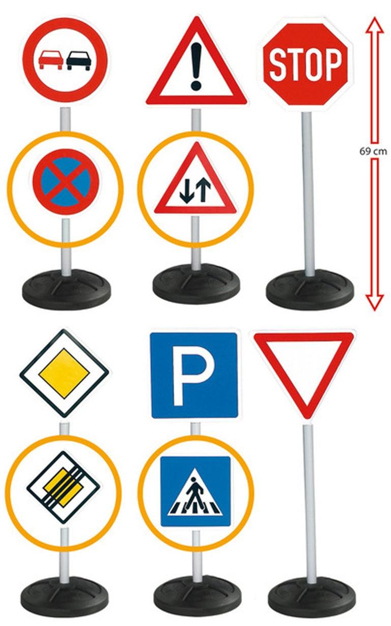 BIG-TRAFFIC-SIGNS - игрушечные дорожные знаки, высота 69 см., 6 шт.Знаки дорожного движения, светофоры<br>Набор игрушечных знаков дорожного движения научит ребенка некоторым ПДД.<br>Знаки: обгон запрещен, стоянка запрещена, внимание, двустороннее движение, стоп, главная дорога, конец главной дороги, парковка, пешеходный переход, уступи дорогу.<br>Если собрать все...<br>