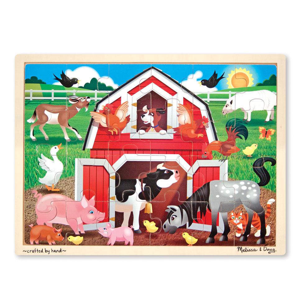 Пазл на подложке - Животные на ферме, 24 деталиРамки и паззлы<br>Пазл на подложке - Животные на ферме, 24 детали<br>