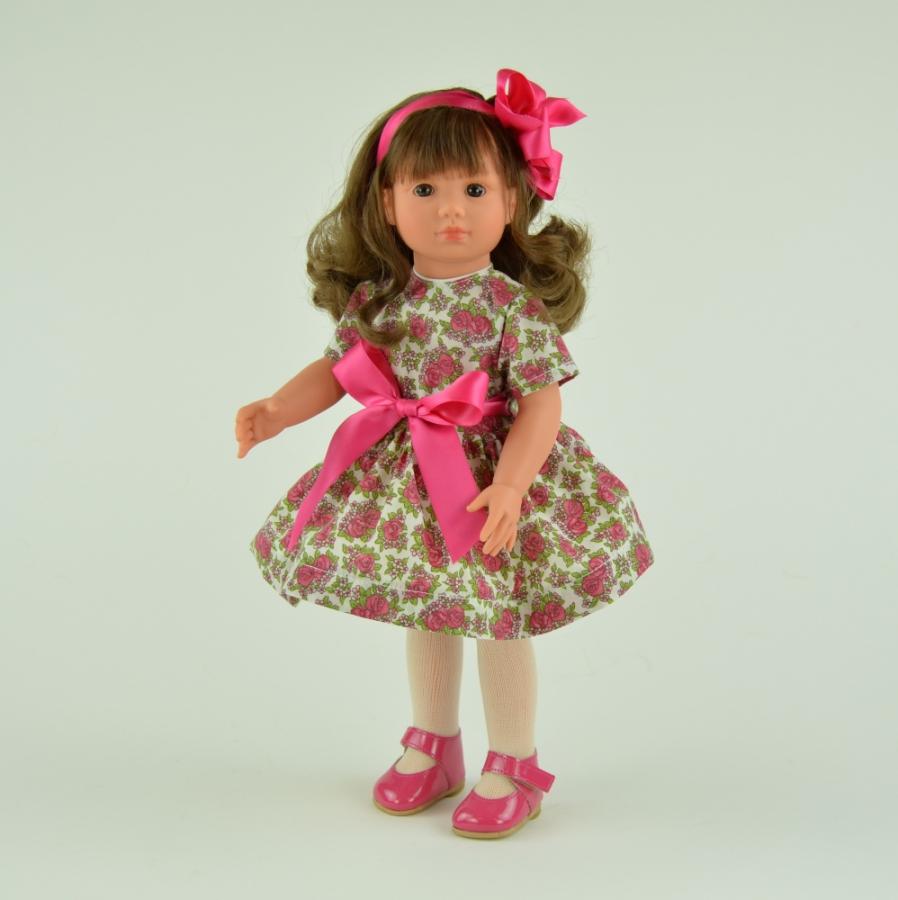 Кукла Нелли в платьице с розовой лентой, 43 см.Куклы ASI (Испания)<br>Кукла Нелли в платьице с розовой лентой, 43 см.<br>