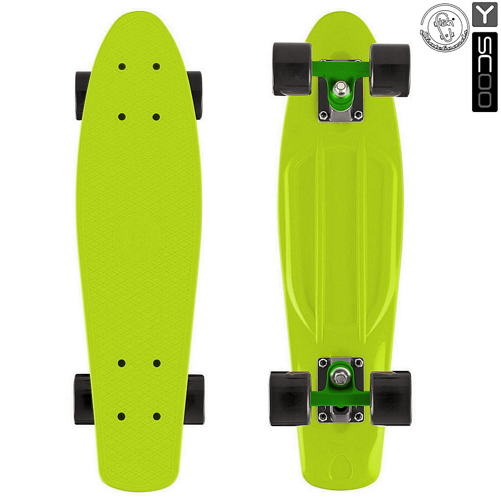 Скейтборд виниловый Y-Scoo Fishskateboard 22 401-L с сумкой, зеленыйДетские скейтборды<br>Скейтборд виниловый Y-Scoo Fishskateboard 22 401-L с сумкой, зеленый<br>